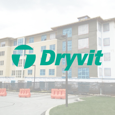 dryvit logo over laid on a dryvit example work site